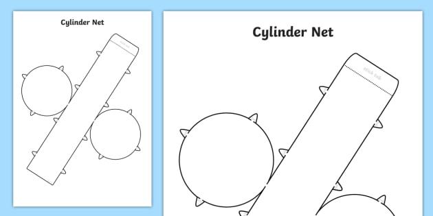FREE! - 3D Net for Cylinder - cylinder, net, 3D, shape, cut out