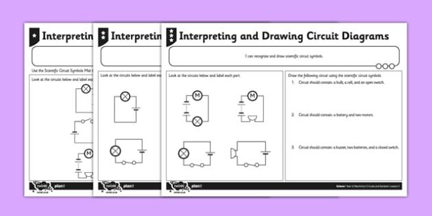 Interpreting and Drawing Circuit Symbols Worksheet / Worksheet - circuit