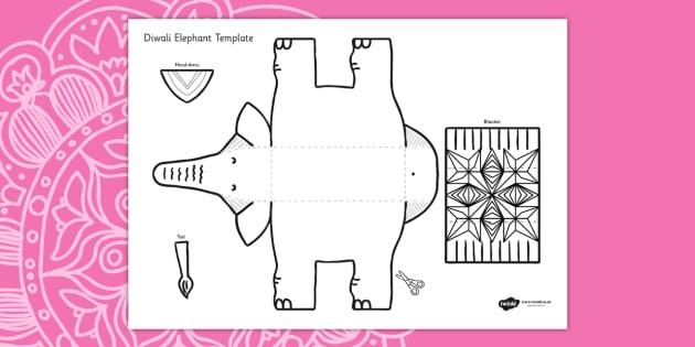Diwali Elephant Cutout Template - diwali, elephant, cutout, cut out