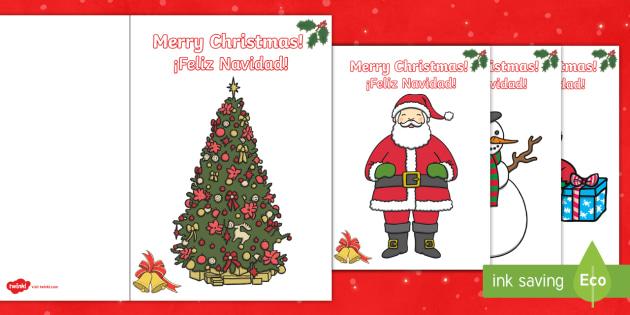 Christmas Gift Card Template English/Spanish - christmas, xmas
