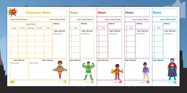 Superhero Editable Classroom Newsletters - News, Class news, Curriculum