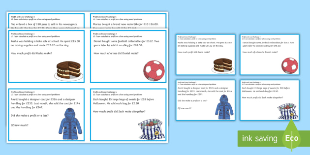 Profit and Loss Challenge Cards - CfE Numeracy and Mathematics - profit and loss worksheet