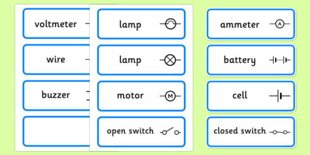 FREE! - Electric Circuit Symbol Word Cards - Electric, circuit, word
