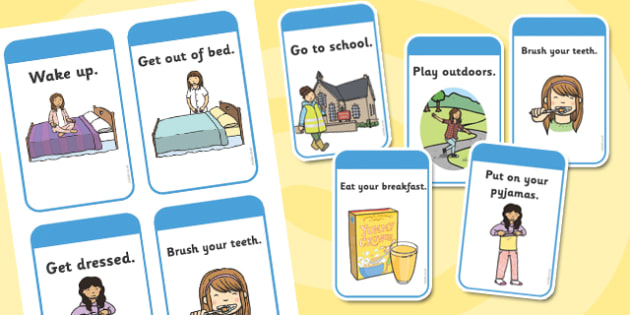 Daily Routine Cards (Girls) - Visual Timetable, SEN, Daily - daily timetable