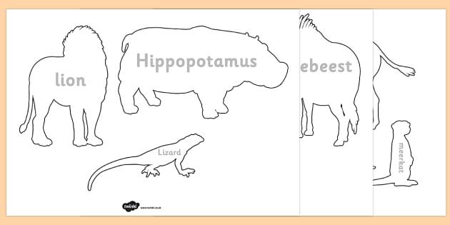 FREE! - Safari Safari Animal Shadow Puppet Templates - template, animals