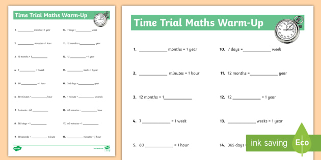 Time Trial Worksheet Activity Sheet Time Am Pm Weeks