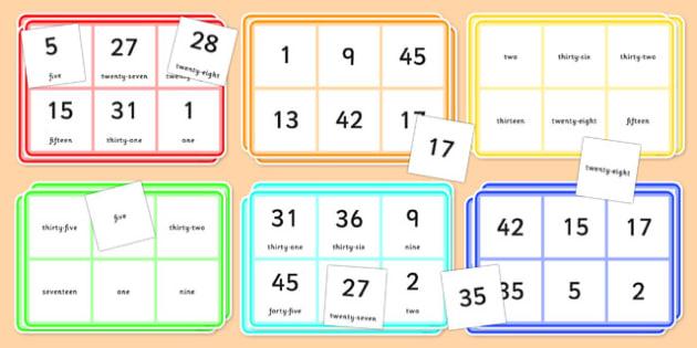 Number Words Bingo 0-50 - number words, bingo, activity, 0-50