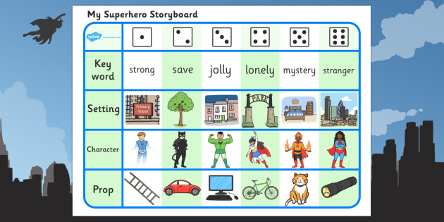 Superhero Storyboard Writing Activity - superhero, storyboard