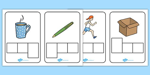 CVC Words Phoneme Frames - CVC, CVC word, three phoneme words - word design frames