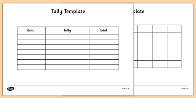Tally Template - tally, template, tally chart, graph, maths - graph chart templates