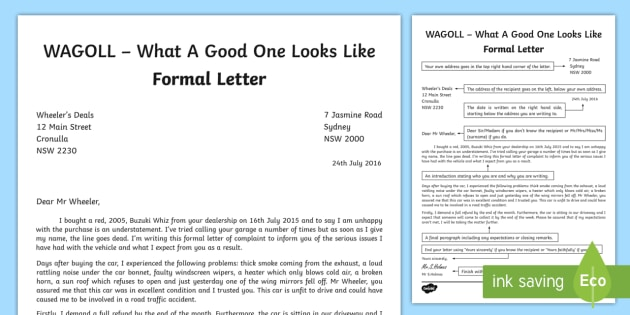 WAGOLL Formal Letter Writing Sample - English, text types, letter