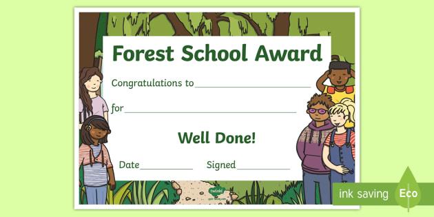 Forest School Award Certificate - outdoor learning, reward - class certificates template