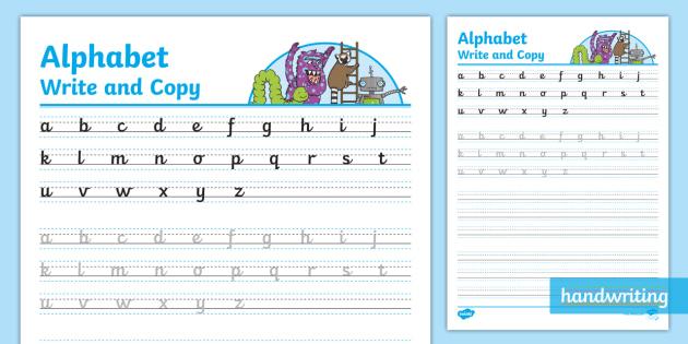 Cursive Handwriting Practice Worksheet - practice alphabet writing