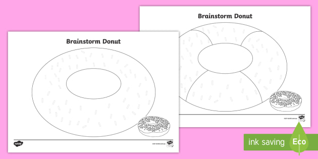 Cursive Brainstorm Donut Writing Template