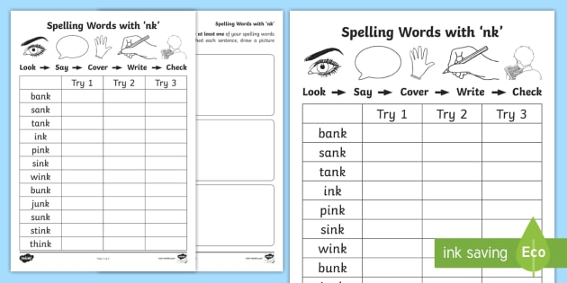 nk\u0027 Spelling List Worksheets - Spelling, CVC Words, A, Sounding Out