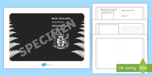 New Zealand Passport Template Activity - New Zealand Passport - passport template