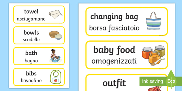 NEW * Baby Things Word Cards English/Italian - Baby Things - Baby Clinic