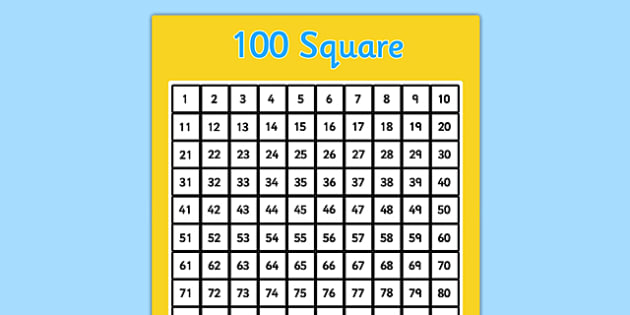 100 Square Template - Number square, hundred square, Counting