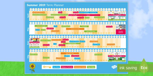 NEW * Summer Term 2019 Display Calendar - term 3, end of