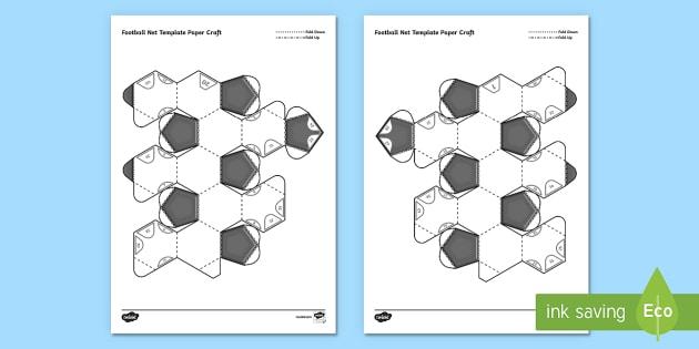 3D Football Net Template Paper Craft - football, craft, paper