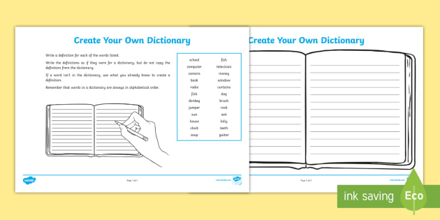 Create Your Own Dictionary - create your own dictionary - make your own template
