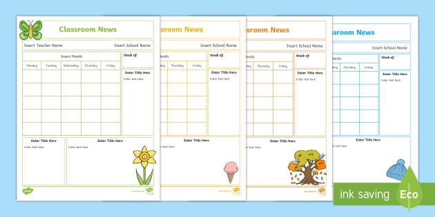 NEW * Editable Seasons Classroom Newsletters - Spring, Winter - editable classroom newsletter
