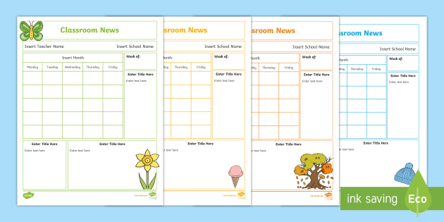 NEW * Editable Seasons Classroom Newsletters - Spring, Winter
