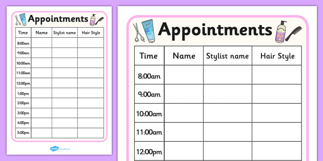 Hairdressers Role Play Appointment Sheet - Hairdresser Role - hair salon sign in sheet
