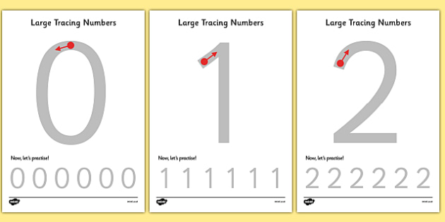 Large Tracing Numbers - Tracing numbers, tracing sheet, 0-9 - Numbers In Writing