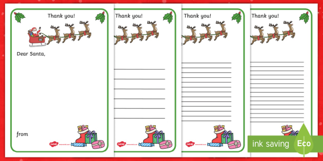 Thank You Letter to Santa Writing Template - Christmas, letter, Santa