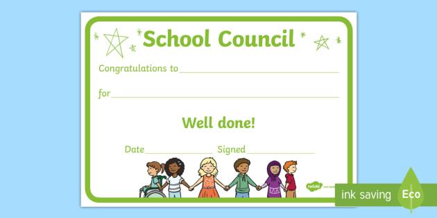 Editable School Council Award Certificate - representatives