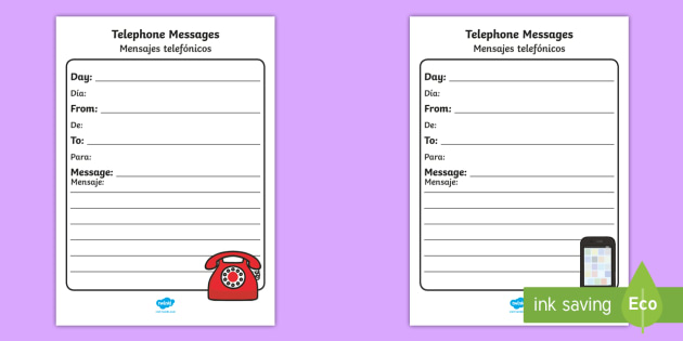 General Telephone Message Writing Template English/Spanish