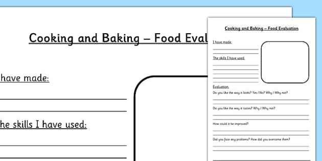FREE! - Design and Technology Food Evaluation Worksheet - DT, food tech