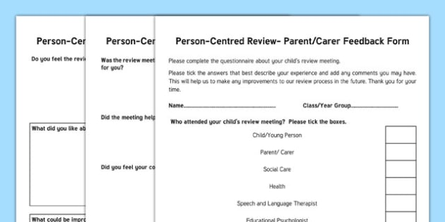 Person-Centred Review Parent Feedback Form - person centred