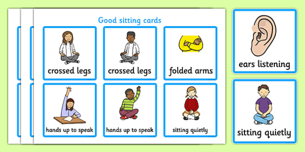 Good Sitting Cards Good Sitting Listen Behaviour Management