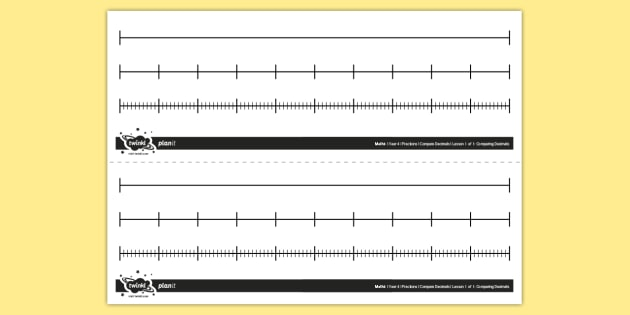 Mixed Blank Number Lines - Model Blank, number line, fractions, decimals