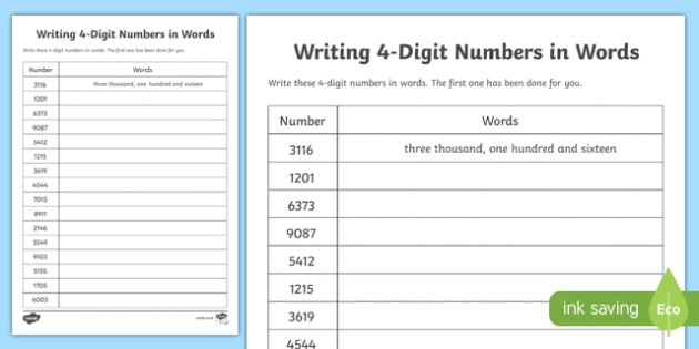Place Value Writing 4 Digit Numbers In Words Worksheet
