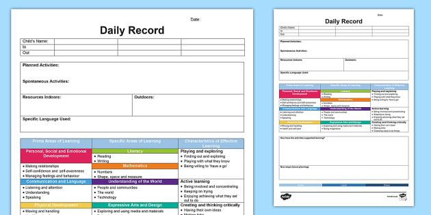 EYFS Daily Diary - Retrospective Planning Template - planning, Planning