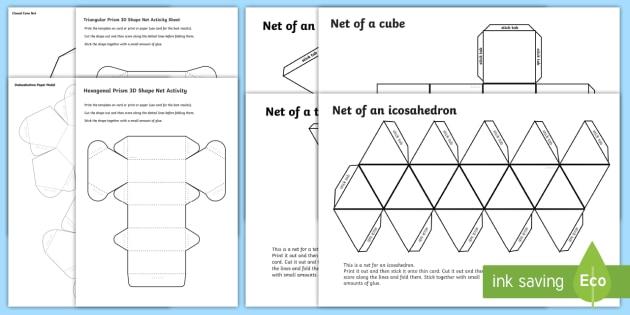 Nets of 3D Shapes - - nets of 3D shapes, solid shapes, nets, shape