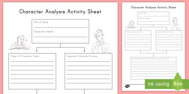 Character Analysis Worksheet / Activity Sheet - RL33, RL33