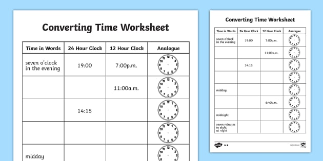 Converting Time Worksheet - converting time, time conversion - time worksheets