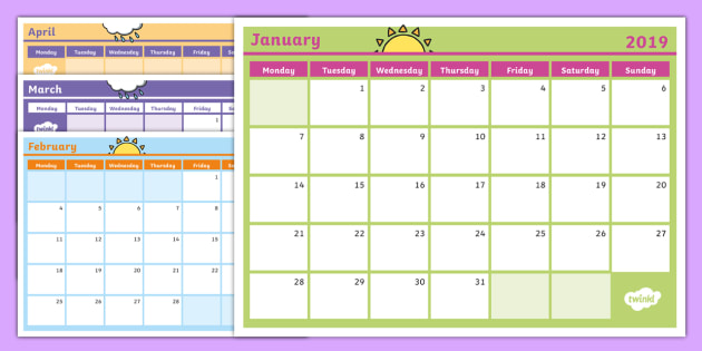2019 Monthly Calendar Southern Hemisphere Planning Template