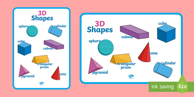 Large 3D Shapes Poster - shapes, 3d shapes, 3d shapes poster, shapes