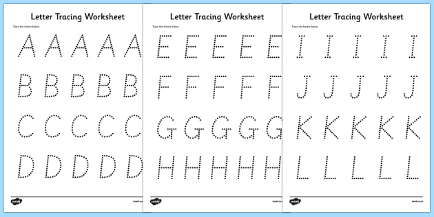 FREE! - Letters Numbers and Shapes Tracing Worksheet - fine motor skills