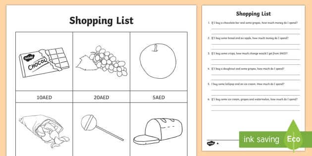 Shopping List AED Differentiated Worksheet / Worksheets - UAE Maths