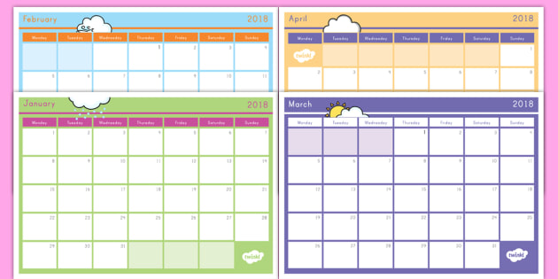 2018 Monthly Calendar Planning Template - class planner - teachers planning calendar