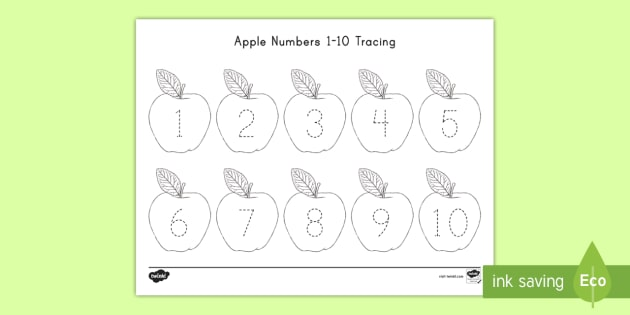 Apple Numbers 1 10 Tracing Worksheet Activity Sheet Usa