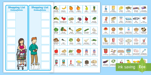 Shopping Lists and Food Cards English/German - groceries - shopping lists