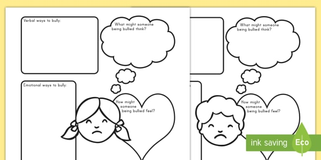 Bullying Worksheet Worksheets Bully Bullying Special