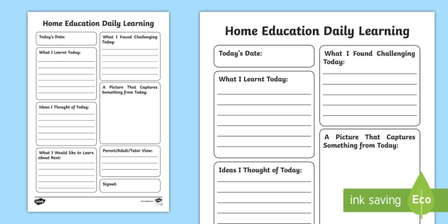 Home Education Daily Learning Journal Writing Template - Review, Home Ed